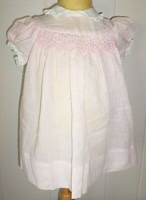Vintage Girl Infant Baby Dress Pink Smocking Lace Collar Cotton