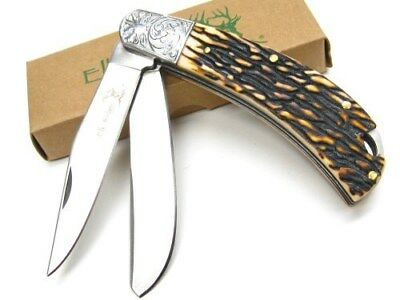 ELK RIDGE Jigged Handle GENTLEMAN'S 2 Blade Folding Pocket Knife ER-552FB New!