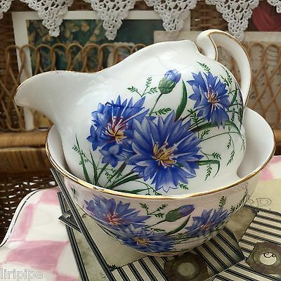 ROYAL VALE BONE CHINA 1960s MILK JUG SUGAR BOWL SET BLUE CORNFLOWER FLORAL 7513
