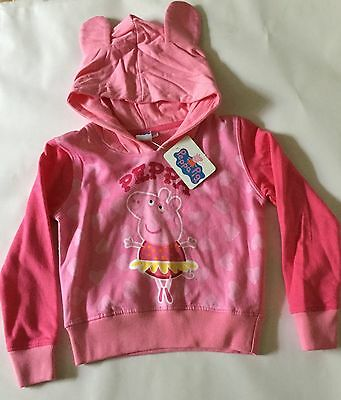 Girls Pink Hoodie with Peppa Pig detail sizes 1.5-2,  2-3 and 3-4 years