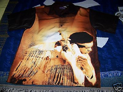 NEW WITH TAGS Vintage JIMI HENDRIX Dragonfly Button Dress Collar Bowling Shirt L