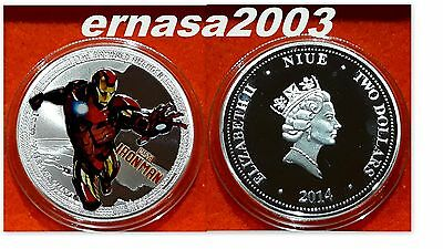 Iron Man - Marvel - Niue - 2014 - Two Dollars - Medalla 29 Grs. 40 Mm Capsula