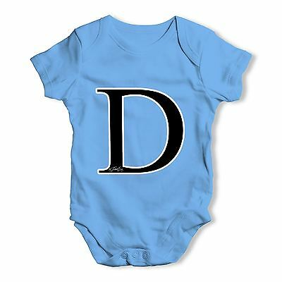 Twisted Envy Alphabet Monogram Letter D Baby Unisex Funny Baby Grow Bodysuit
