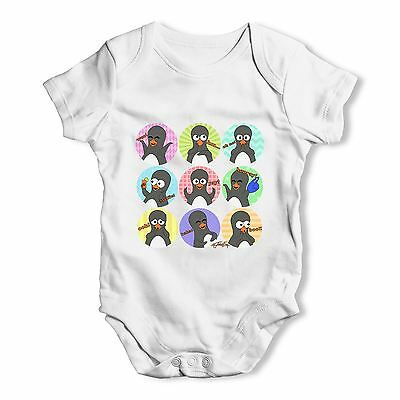 Twisted Envy Guin The Penguin Emoticons Baby Unisex Funny Baby Grow Bodysuit