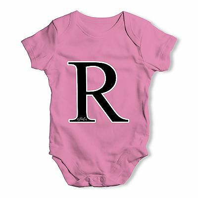 Twisted Envy Alphabet Monogram Letter R Baby Unisex Funny Baby Grow Bodysuit