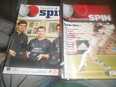 Lancs County Cricket Club Spin Magazine 2 Issues - 2010/11