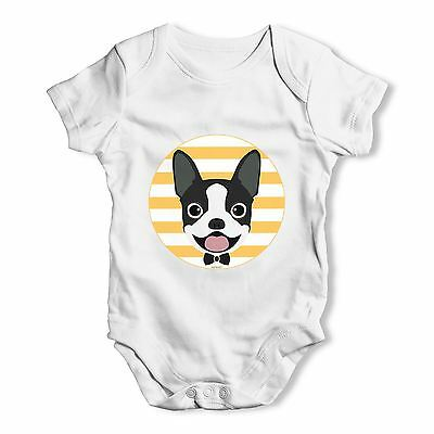 Twisted Envy Boston Terrier Bow Tie Baby Unisex Funny Baby Grow Bodysuit
