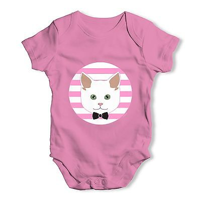 Twisted Envy White Cat Baby Unisex Funny Baby Grow Bodysuit
