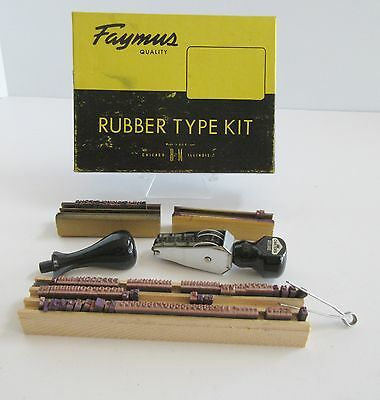 Vintage Faymus Quality Rubber Type Kit Rubber Stamp Wooden Holder Office No. 0
