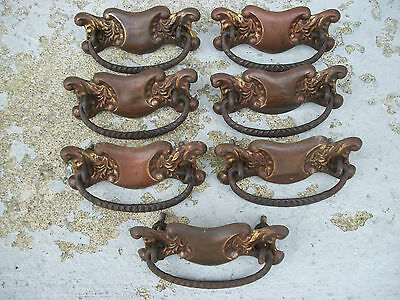 Seven Vintage Brass Drawer Pulls Handles Original Excellent Condition