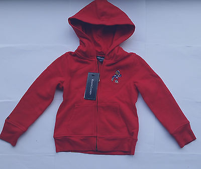 RALPH LAUREN Girl BEAR Red Zip Jersey Sweat Hoodie Jacket 4 years NWT Christmas