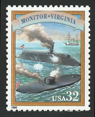 US Civil War Ironclad Ship Battle USS Monitor & CSS Virginia USS Merrimack Stamp