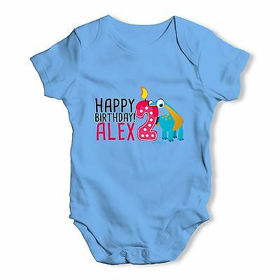Personalised Dinosaur 2nd Birthday Baby Unisex Funny Baby Grow Bodysuit
