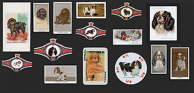 15 King Charles English Toy Spaniel Collectable Dog Cigarette Breed Cards Bands