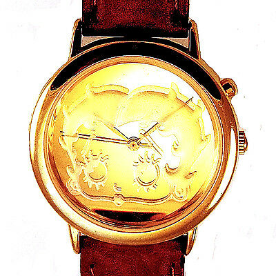 Betty Boop, Fossil Valdawn New 3-D Gold Coin Look, Brown Leather Band Watch $179
