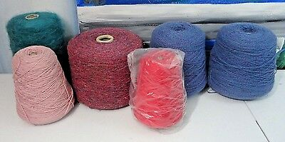 Lot of 6 Cones of Yarn for Hand Knitting and Machine AWESOME Lot
