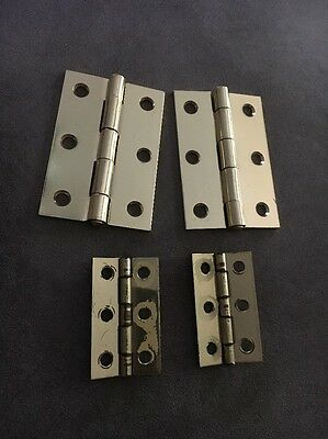 "Lot Of 4 Metal Tone Gold Hinges 2-3"" 2-2"""