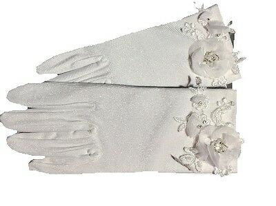 White Bridal Short Satin Gloves Fingered Sparkly 3d Floral Lace GLAM Chic