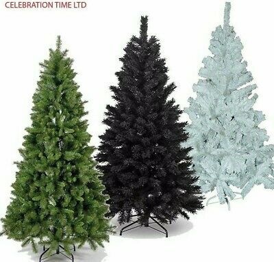 4ft/5ft/6ft/7ft GREEN WHITE BLACK ARTIFICIAL CHRISTMAS XMAS TREE PINE HOME DECOR