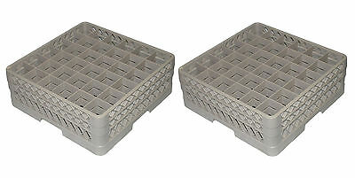 Lot of 2 - Vollrath TR7CC Traex Beige 36-Compartment Glass Rack w/ 2 Extenders