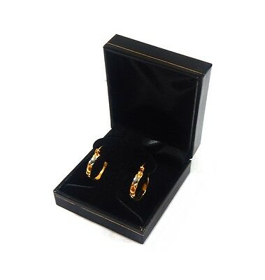 4 Hoop or Post Earring Boxes Black Classic Leatherette Jewelry Display Gift Box