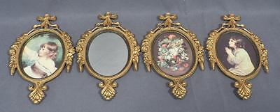 Vintage Lot of 4 Cast Metal Wall Hanging Frames made in Italy