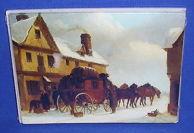 Package of 10 UNICEF Christmas Cards Stagecoach with Horses Season's Greetings