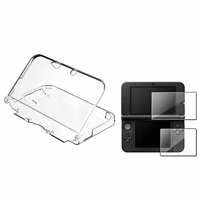 Clear Crystal Case + 2 LCD Reusable Screen Protector For Nintendo 3DS XL CT