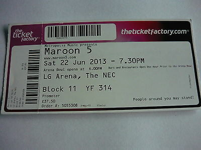 Maroon 5 - 2013 Concert Ticket