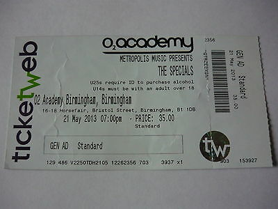 The Specials - Unused 2013 Concert Ticket
