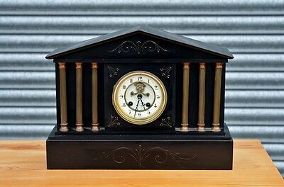 Antique Mantle Clock In Slate Housing