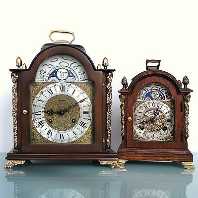 HERMLE Unusual Mantel Vintage Clock Moonphase DOUBLE BELL Chime! Germany Bracket