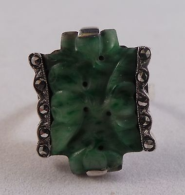 Very Nice Art Deco Sterling Silver And Carved Jade Ring Circa 1930