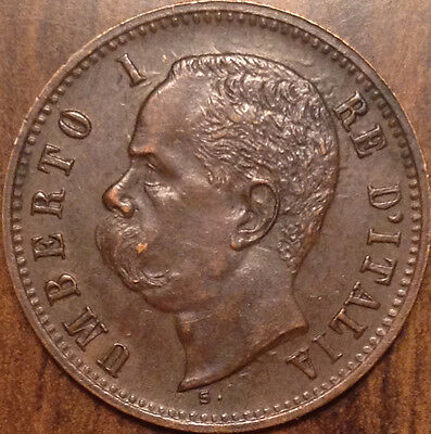 1898 R Italy 2 Centesimi Outstanding Example In Almost Uncirculated !