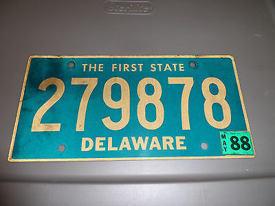 Expired Delaware License Plate 1988 The First State 279878