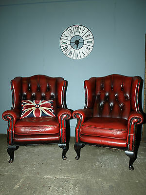 1 x absolute vintage Queen Ann wing back chair leather chesterfield