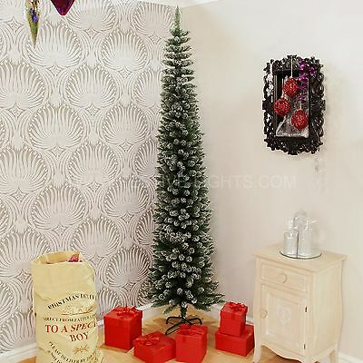 2M Indoor Home Green Flocked Pine Pencil 570 Tips Christmas Decoration Tree