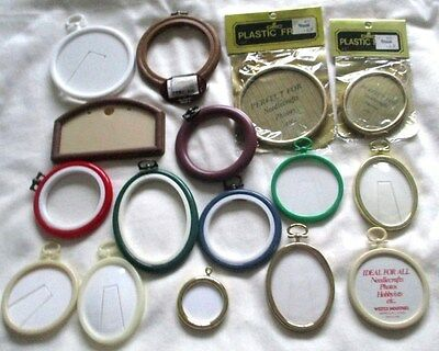Job Lot  Assorted Frames for Cross Stitch Pictures Etc. 16 in Total.