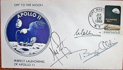 Apollo 11 Crew Signed Launch Cover Signed By All Three Crew Members