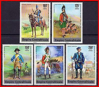 Central Africa 1977 American Military Uniforms  Mnh  Horses, Costumes  (K-J18)
