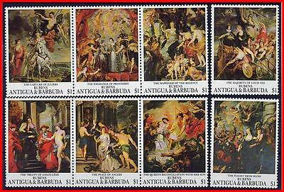 ANTIGUA 1993 PAINTINGS by RUBENS  MNH CV$6.50 NUDE, COSTUMES, MILITARY (K-J18)