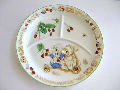 Childs Porcelain Divided Plate Gorham A Merry Mouse 8in  Priscilla Hillman 1983