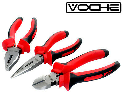 "3PIECE VOCHE HEAVY DUTY 150mm 6"" COMBINATION LONG NOSE SIDE CUTTING PLIERS SET"