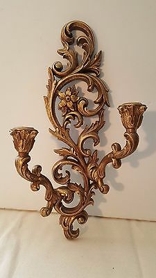 Vtg Double Burwood Gold Taper Candle Holder Wall Sconce Floral Scroll Design