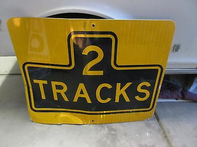 "Authentic Railroad Crossing Sign Yellow and Black ""2 Tracks"""