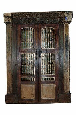 Antique Indian Doors Hand Carved Haveli Teak Wood Double Jali Door & Frame 18C