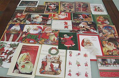 25 Used Christmas Greeting Cards SANTA CLAUS Workshop, Toys for Craft Projects