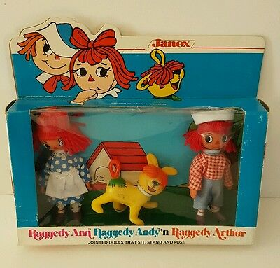 Rare Vintage Raggedy Ann Andy Arthur Figure Doll Set 1981 Janex New Sealed 1980