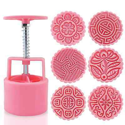 KEESIN Moon Cake Mould 100g Flower Round DIY Hand Pressed Pastry Decoration Cook