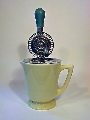 Vintage McKee Custard Glass 4 cup Base w/ Merry Whirl Hand Mixer EXCELLENT